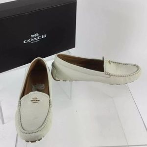 Coach genuine leather white moccasin loafer flat